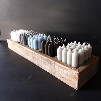 ib laursen dinerkaarsjes kort licht grijs donker grijs licht blauw zwart wit railway wood 5 vakken tray