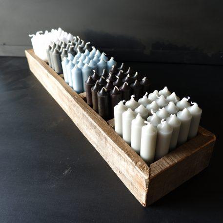 ib laursen dinerkaarsjes kort licht grijs donker grijs licht blauw zwart wit railway wood 5 vakken tray1