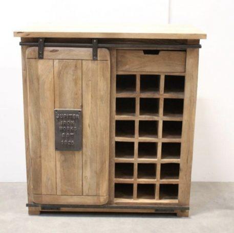 industrieel mangohouten dressoir factory wijnkast met schuifdeur lade en staal hoog 100 cm breed 90 cm diep 40 cm.3JPG