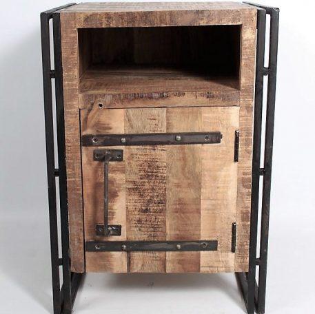 industrieel nachtkastje factory iron zwart staal en mango hout hoog 66 cm, breed 46 cm en diep 40.5 cm