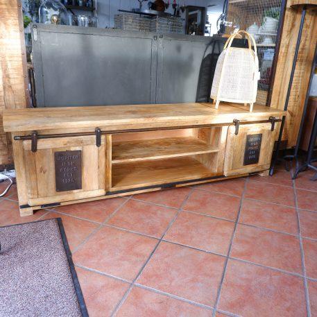 industrieel factory tv dressoir tv meubel jupiter iron works mangohout en staal 2 schuifdeuren hoog 50 cm breed 180 cm diep 40 cm4
