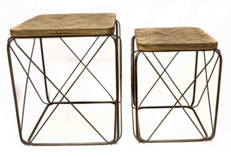 bijzet salontafel vierkant set van 2 bewerkt blad antraciet groen metaal hoog 50.5 cm breed 42 cm diep 42 cm1a