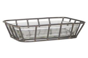 ib-laursen soap dish zeep schaaltje metaal en glas hoog 3.5 cm breed 14.5 cm diep 10.5 cm3