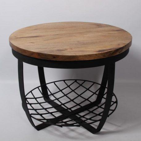 industrieel mangohouten bijzettafel salontafel rond zwart staal en gaas hoog 47 cm diameter 60 cm € 99.-