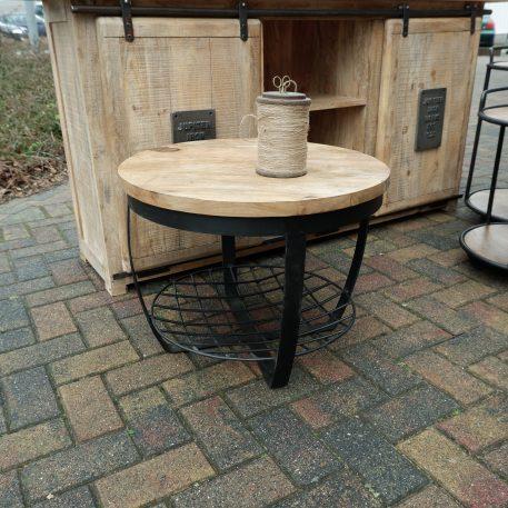 industrieel mangohouten bijzettafel salontafel rond zwart staal en gaas hoog 47 cm diameter 60 cm1