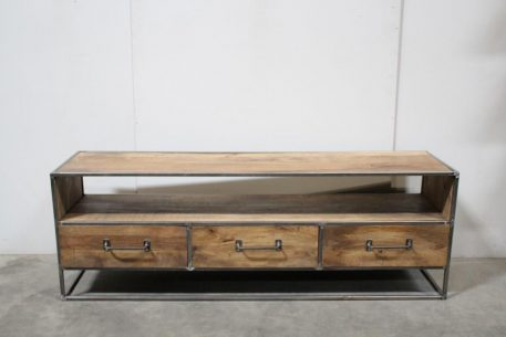 industrieel tv meubel tv dressoir 3 laden mangohout en staal hoog 55 cm breed 160 cm en diep 40 cm11