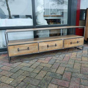 industrieel tv meubel tv dressoir 3 laden mangohout en staal hoog 55 cm breed 160 cm en diep 40 cm5