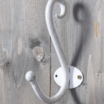 kapstokhaak curl hoog 18 cm diep 9 cm smeedijzer antiek wit