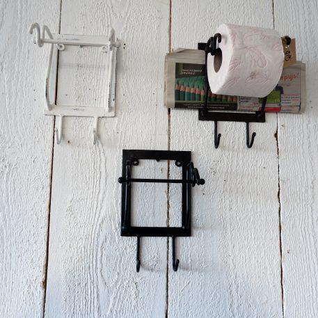 toiletrolhouder smeedijzer zwart bruin en wit metaal met haakje hoog 24 cm breed 15 cm diep 14 cm1