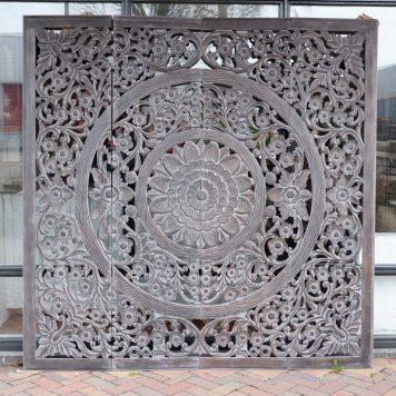 wandpaneel houtsnijwerk vegas 4-luik 210 bij 210 grijs7