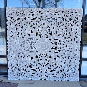 wandpaneel houtsnijwerk white wash pinar 3-luik 180 bij 180 cm
