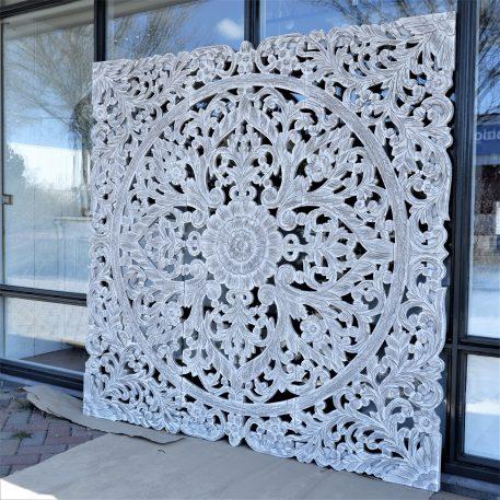 wandpaneel houtsnijwerk white wash pinar 3-luik 180 bij 180 cm4