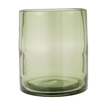 ib-laursen mond geblazen hurricane windlicht vaas olijf groen cylinder vorm hoog 18.5 cm diameter 16 cm