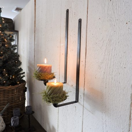 hangkandelaar wall wandkandelaar smeedijzer voor stompkaars of dinerkaars hoog 41 cm diameter kaarsschotel 10 cm diep 17.5 cm10