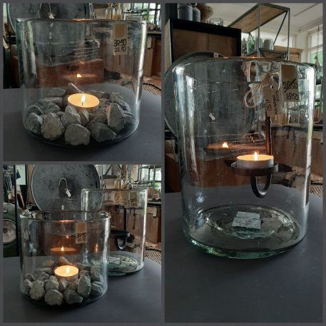 ib-laursen mond geblazen hurricane windlicht vaas helder glas cylinder vorm hoog 23 cm diameter 19.5 cm6