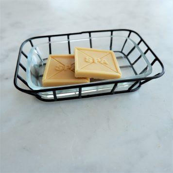 ib-laursen soap dish zeep schaaltje zwart metaal en glas hoog 3.5 cm breed 14.5 cm diep 10.5 cm