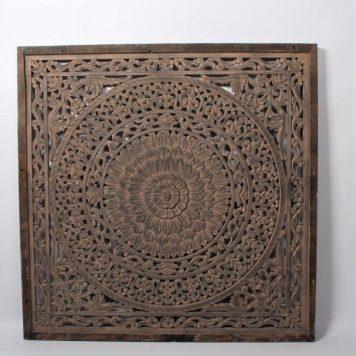 wandpaneel houtsnijwerk barcelona 120 bij 120 cm ash grey teak frame1