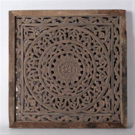 wandpaneel houtsnijwerk barcelona 60 bij 60 cm ash grey ornament teak frame3