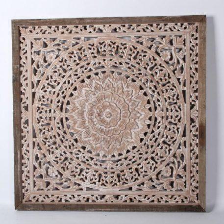 wandpaneel houtsnijwerk naturel white barcelona 90 bij 90 cm teak frame8
