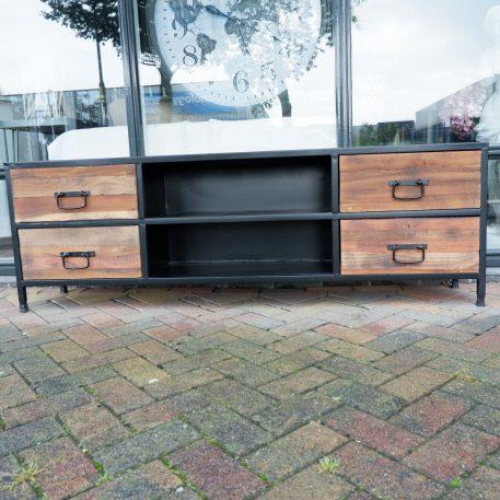 black steel tv-dressoir hoog 59 cm breed 180 cm diep 35 cm open vak en 4 lades