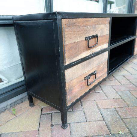 black steel tv-dressoir hoog 59 cm breed 180 cm diep 35 cm open vak en 4 lades4