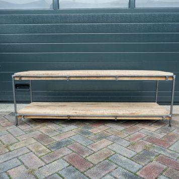 cuby industriele bank wandtafel bijzet salontafel tv meubel blank staal mangohout hoog 51.5 cm breed 150 cm diep 44 cm