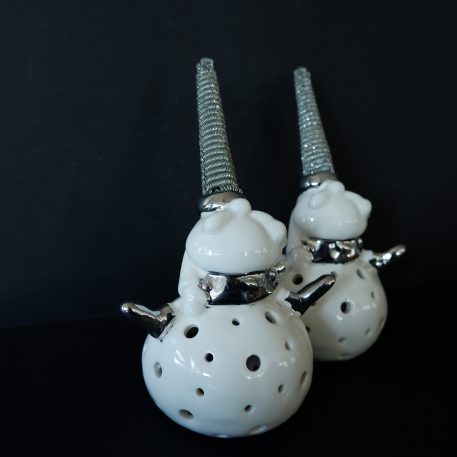 sia home fashion kerstman voor waxinelichtje wit porselein met zilver hoog 20 cm breed 12 cm diameter 9.5 cm