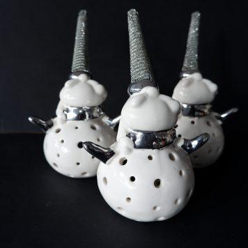 sia home fashion kerstman voor waxinelichtje wit porselein met zilver hoog 20 cm breed 12 cm diameter 9.5 cm3