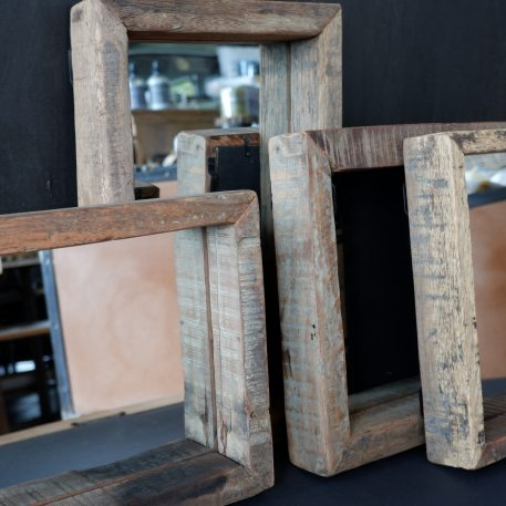 spiegel truckwood rechthoek 40 x 25 x 5.5 cm en vierkant 30 x 30 x 5.5 cm