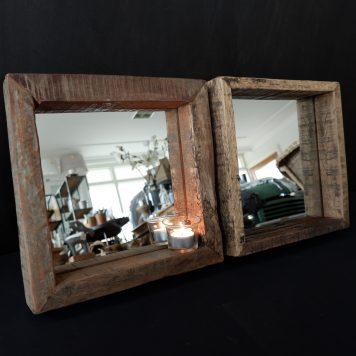 spiegel truckwood vierkant 30 x 30 x 5.5 cm2
