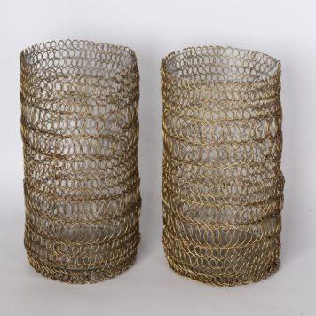 windlicht glas en draadijzer goud hoog 21 cm diameter 11 cm1