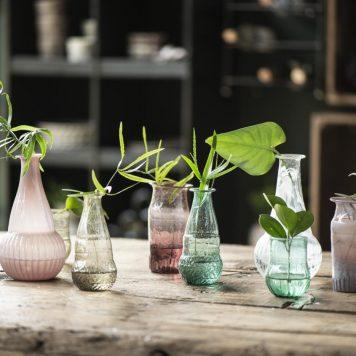 ib-laursen gerecycled glas vaasjes unique 5 kleuren hoog 12 cm diameter 6 cm3