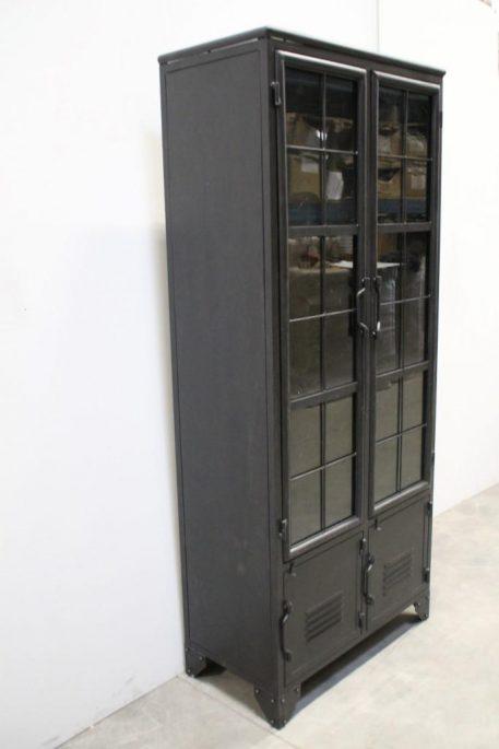 black iron vitrinekast hoog 196 cm breed 80 cm diep 40 cm3