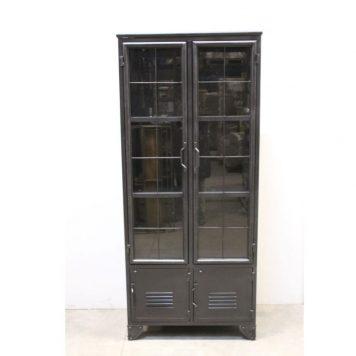 black iron vitrinekast hoog 196 cm breed 80 cm diep 40 cma