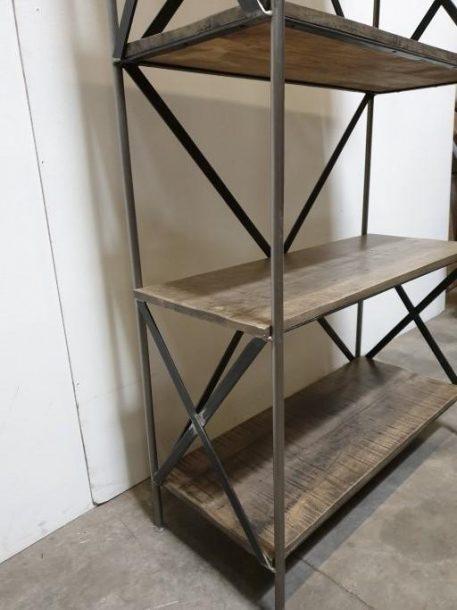 boekenkast pipe grijs staal grijs mangohout hoog 200 cm breed 95 cm diep 41 cm2