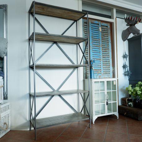 boekenkast pipe grijs staal grijs mangohout hoog 200 cm breed 95 cm diep 41 cm3