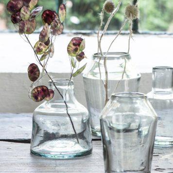glazen vaas mond geblazen glas hoog 13.5 cm diameter 11.5 cm opening hals diameter 4.5 cm ib-laursen vase low