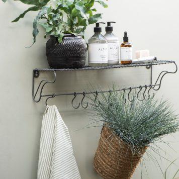 grijs metalen wandrek met 10 haken wall shelf ib-laursen hoog 13 cm breed 60 cm diep 16 cm