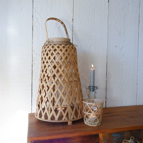 bamboo hurricane conical hoog 39.5 cm diameter 25.5 cm ib-laursen bamboo lantaarn conisch6