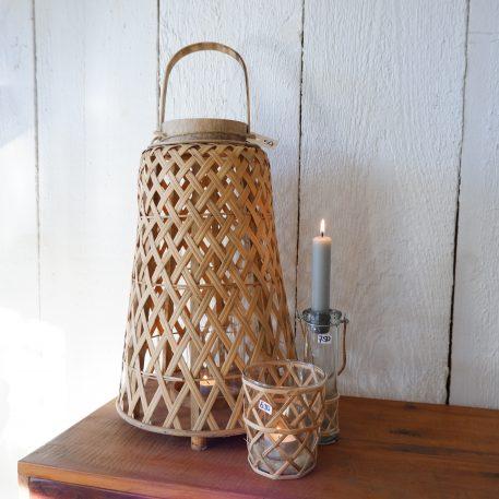 bamboo hurricane conical hoog 39.5 cm diameter 25.5 cm ib-laursen bamboo lantaarn conisch7
