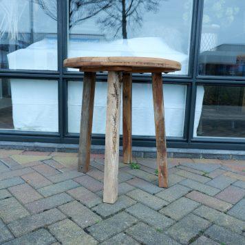 barnwood bijzettafel rond reclaimed wood hoog 65 cm diameter 61 cm blad dikte 3 cm