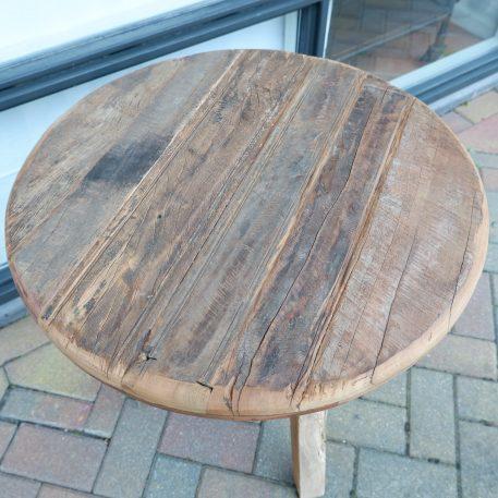 barnwood bijzettafel rond reclaimed wood hoog 65 cm diameter 61 cm blad dikte 3 cm3