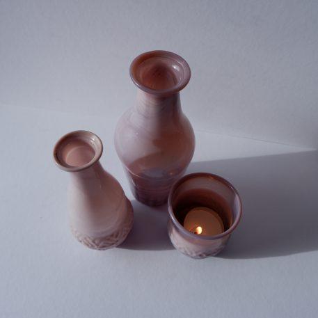 ib-laursen gerecycled glas vaasjes unique 6 kleuren 2 hoogtes en sfeerlichtje oud roze mat1