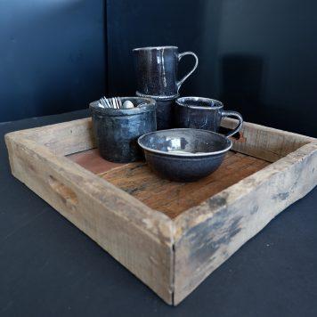 barnwood tray vierkant dienblad truckwood breed 33 cm diep 33 cm rand 6 cm hoog3