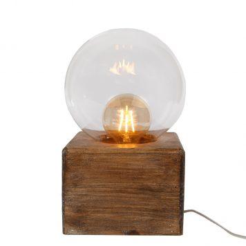 stolplamp voet vierkant hout glazen bol hoog 30 cm voet 18 x 18 cm4