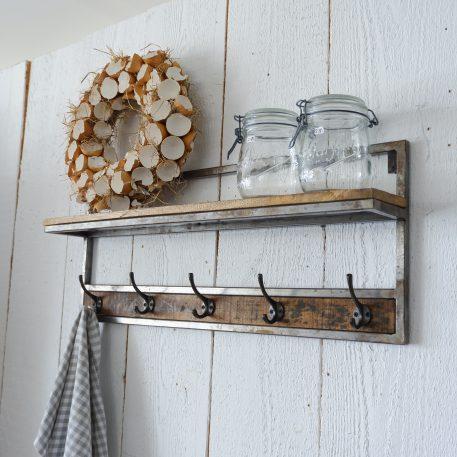 wandplank straight met 5 kapstok haken mangohout en staal hoog 30 cm breed 75 cm diep 12.5 cm