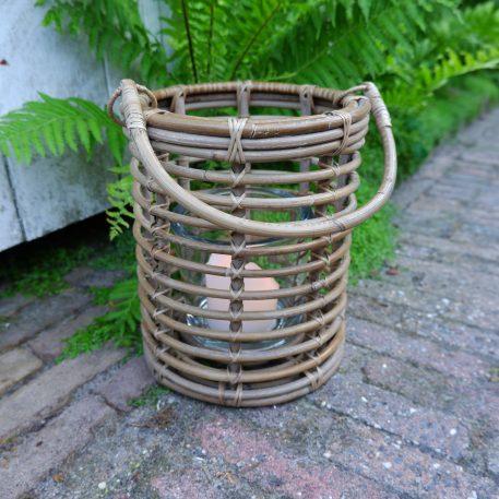 cilinder lataarn rustic rattan koboo grey met glas voor kaars hoog 24 cm diameter 22 cm