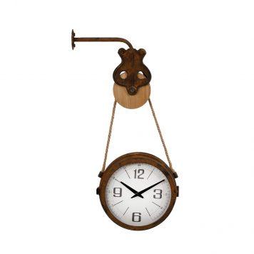 klok roest hangend aan katrol hoog 67 cm diameter klok 28 cm diep 31 cm9