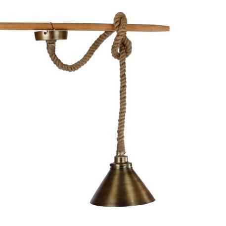 touwlamp hangend met metalen kap antiek goud of messing1
