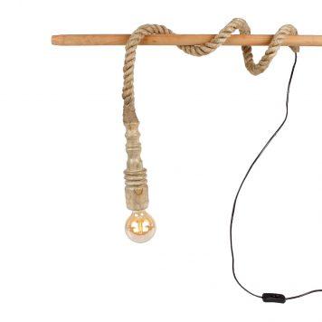 touwlamp met houten fitting